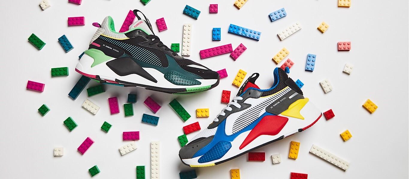Dos zapatillas coloridas Puma RS-X Toys